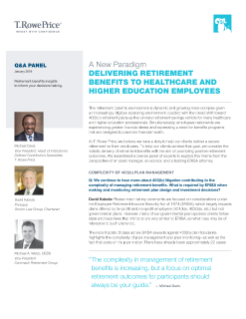 A New Paradigm: Delivering Retirement Benefits to Healthcare and Higher Education Employees