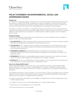 T. Rowe Price Policy Statement on Environmental, Social and Governance Issues