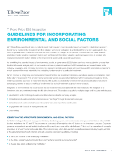 Guidelines for Incorporating Environmental and Social Factors