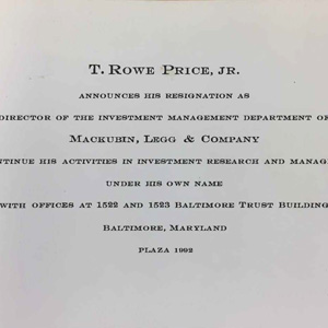 Artifact of Thomas Rowe Price's resignation to start his own company, T. Rowe Price.