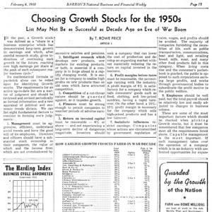 Investor article from T. Rowe Price in 1950.