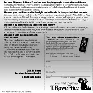 An archive of a  T. Rowe Price marketing  postcard.